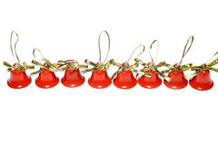 Xmas christmas bells red decoration jingle new year. Merry isolated Royalty Free Stock Images