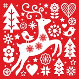 Christmas white Scandinavian folk art on red, reindeer, birds and flowers decoration or greetings card Royalty Free Stock Images