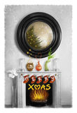 Xmas. Christmas decorations in a black and white room with a few coloured elements Royalty Free Stock Photography