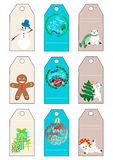 Xmas christmas new year holiday season gift tags set nine gift tags. With polar bear, greetings, snowman, ginger cookie and presents Royalty Free Stock Images