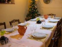 Xmas or christmas table dinner set tree stock photos