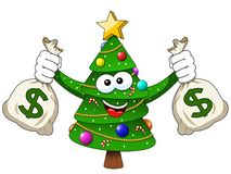 Xmas christmas tree mascot character holding money dollar sack r. Xmas christmas tree mascot character holding money dollar sacks richness isolated on white Royalty Free Stock Photography