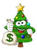 Xmas christmas tree mascot character holding money dollar sack r. Xmas or christmas tree mascot character holding money dollar sack richness isolated Stock Image