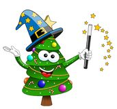 Xmas christmas tree mascot character magician sorcerer isolated. On white Stock Photo