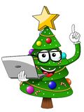 Xmas christmas tree mascot character nerd glasses laptop masterl. Y isolated on white Royalty Free Stock Image