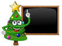 Xmas christmas tree mascot character nerd glasses teacher master. Xmas or christmas tree mascot character nerd glasses teacher masterly blank blackboard isolated Stock Photos