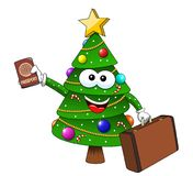 Xmas christmas tree mascot character passport suitcase traveller isolated. On white Royalty Free Stock Photo
