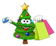Xmas christmas tree mascot character shopping bags sale credit c. Ard isolated on white Stock Photo