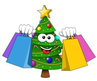 Xmas christmas tree mascot character shopping bags sale isolated. On white Royalty Free Stock Photography