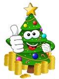 Xmas christmas tree mascot character thumb up money richness iso. Xmas or christmas tree mascot character thumb up money richness isolated Royalty Free Stock Images