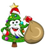 Xmas christmas tree santa claus mascot character holding gift sa. Xmas or christmas tree santa claus mascot character holding gift sack isolated Stock Photo