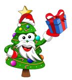 Xmas christmas tree santa claus mascot character holding gift is. Xmas or christmas tree santa claus mascot character holding gift isolated Royalty Free Stock Photos