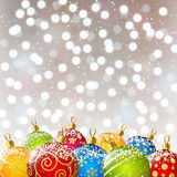 Xmas color balls on bokeh background Royalty Free Stock Photo