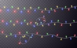 Xmas Color garland, festive decorations. Glowing christmas lights transparent effect decoration on dark background. Vector stock illustration