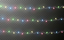 Xmas Color garland, festive decorations. Glowing christmas lights transparent effect decoration on dark background. Vector royalty free illustration