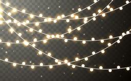 Xmas Color garland, festive decorations. Glowing christmas lights transparent effect decoration on dark background. Vector vector illustration