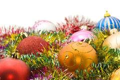 Xmas - colorful decoration balls and tinsel Stock Images
