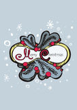 Xmas composition. Colored christmas composition with words, Christmas tree branches, berries and snowflakes on light blue backdrop. Can be used like Christmas Royalty Free Stock Photography