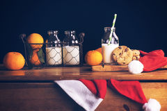 Xmas composition with milk and cookies for Santa Royalty Free Stock Photography