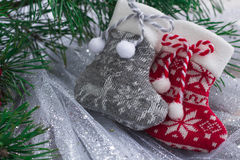 Xmas composition of two knitted socks and christmas tree branche Royalty Free Stock Photography