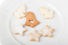 Xmas cookies. Close up shot of some christmas cookies in a white plate Stock Photography