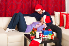 Xmas couple having conversation Stock Image