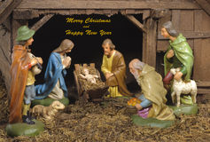 Xmas crib and nativity scene Stock Photos