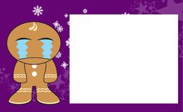 Xmas crying gingerbread kid cartoon expression frame background3 Stock Images