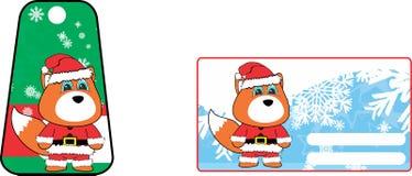 Xmas cute fox claus´s costume cartoon gift card set Royalty Free Stock Photos
