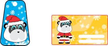 Xmas cute panda bear claus´s costume cartoon gift card set Stock Photos