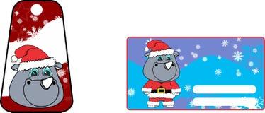 Xmas cute rhino claus´s costume cartoon gift card set Stock Image