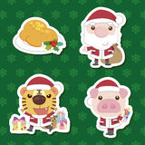 Xmas cute cartoon animal santa claus set Royalty Free Stock Photo