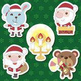 Xmas cute cartoon animal santa claus set Royalty Free Stock Images