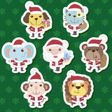 Xmas cute cartoon animal santa claus set Royalty Free Stock Image