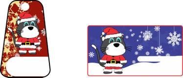 Xmas cute cat claus´s costume cartoon gift card set Royalty Free Stock Photos