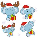 Xmas cute elephant baby cartoon set. Xmas cute animal baby cartoon set in vector format very easy to edit vector illustration