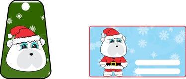 Xmas cute polar bear claus´s costume cartoon gift card set Royalty Free Stock Photos