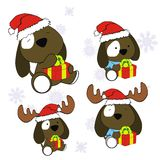Xmas cute puppie baby cartoon set Stock Photo
