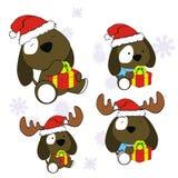 Xmas cute puppie baby cartoon set. Xmas cute animal baby cartoon set in vector format very easy to edit Stock Photo