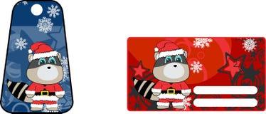 Xmas cute raccoon claus´s costume cartoon gift card set Stock Images
