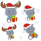 Xmas cute rhino baby cartoon set Royalty Free Stock Images