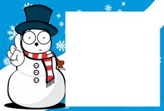 Xmas cute snow man cartoon expression picture frame background. Xmas funny snow man cartoon expression picture frame background in vector format Royalty Free Stock Photo