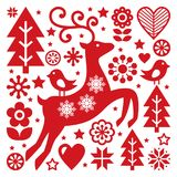 Scandinavian Christmas vector pattern, Nordic folk art, reindeer, birds and flowers decoration or greeting card Royalty Free Stock Image
