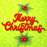 Xmas 3d lettering inscription and holly on green. Stock Images