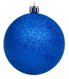 Xmas dark blue ball isolated on white Stock Photography