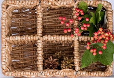 Xmas decor in the basket Stock Photography