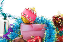 Xmas decoration. Ornament and  glass balls Stock Photography