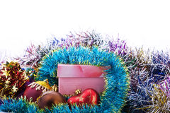 Xmas decoration. Glass balls and gift box Stock Photo