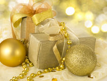 Xmas decoration. With present boxes and shiny balls Royalty Free Stock Photos