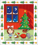 Xmas decoration. Xmas tree surrounded with a girl and kittens Royalty Free Stock Photography